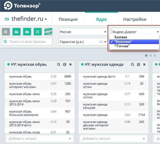 Топвизор — інструмент для семантики і позицій